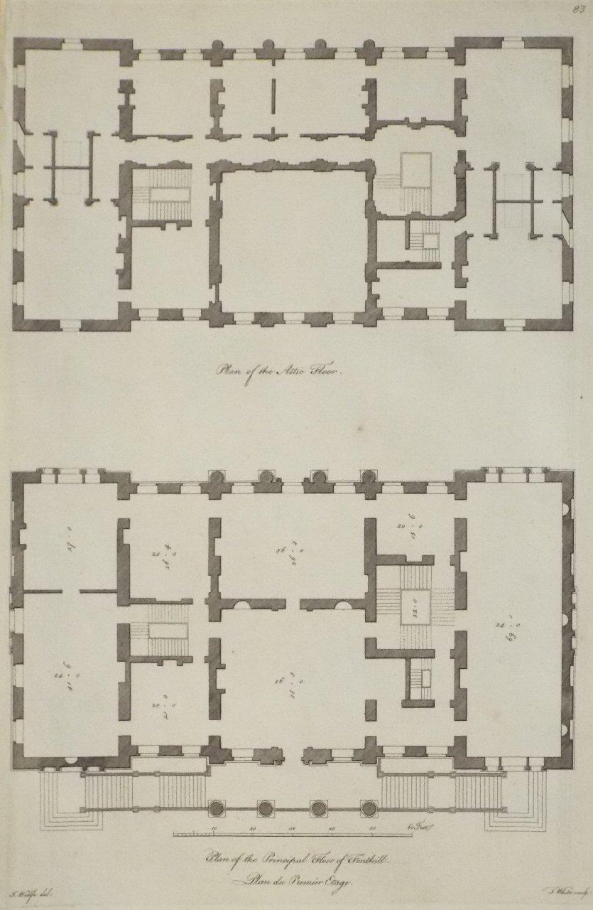 Plan Of The Attic Floor. Plan Of The Principal Floor Of Fonthill. Plan Du  Premier Etage. Ref: P/12032. Medium: Copper Artist: Woolfe J Engraver:  White T