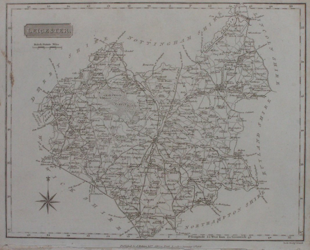 Antique Maps And Prints Of Leicestershire - Antique maps amsterdam