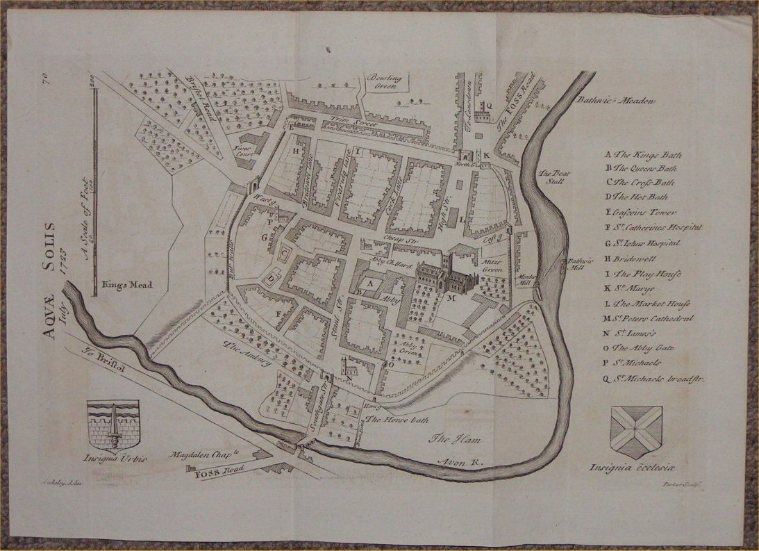 Antique Maps Of Bath In Somerset - Antique map box