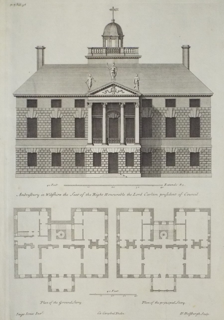 Historic Home Elevation : Antique prints after colen campbell