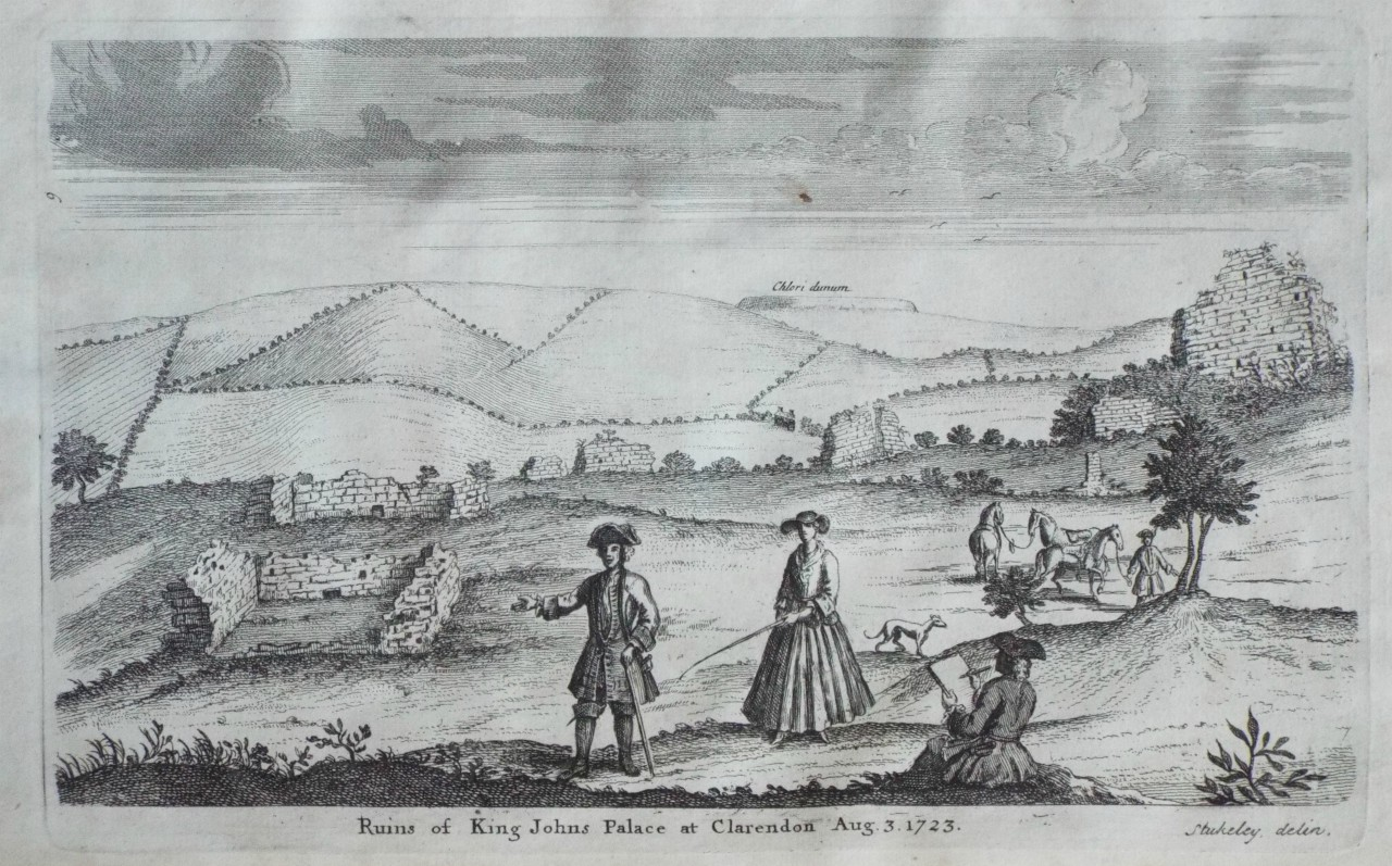 Ruins of King Johns Palace at Clarendon Aug. 3. 1723. Ref: P/21310. Medium:  Copper Artist: Stukeley W Date: 1723