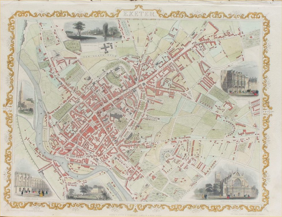 Antique Maps Of Exeter In Devon
