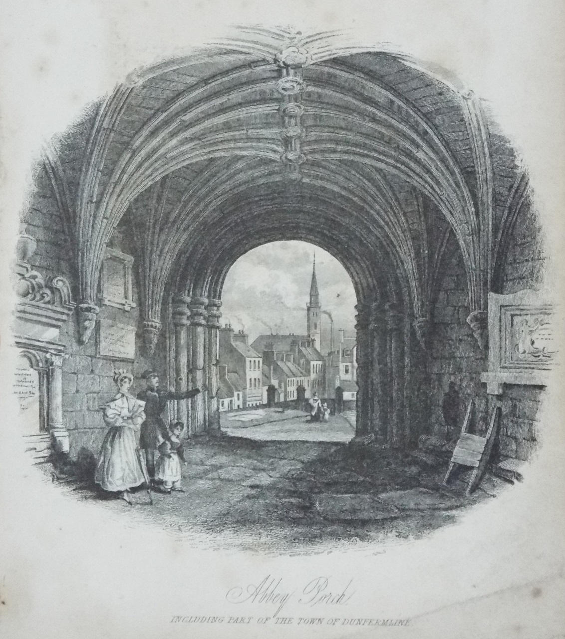 Print - Abbey Porch, including part of the Town of Dunfermline.