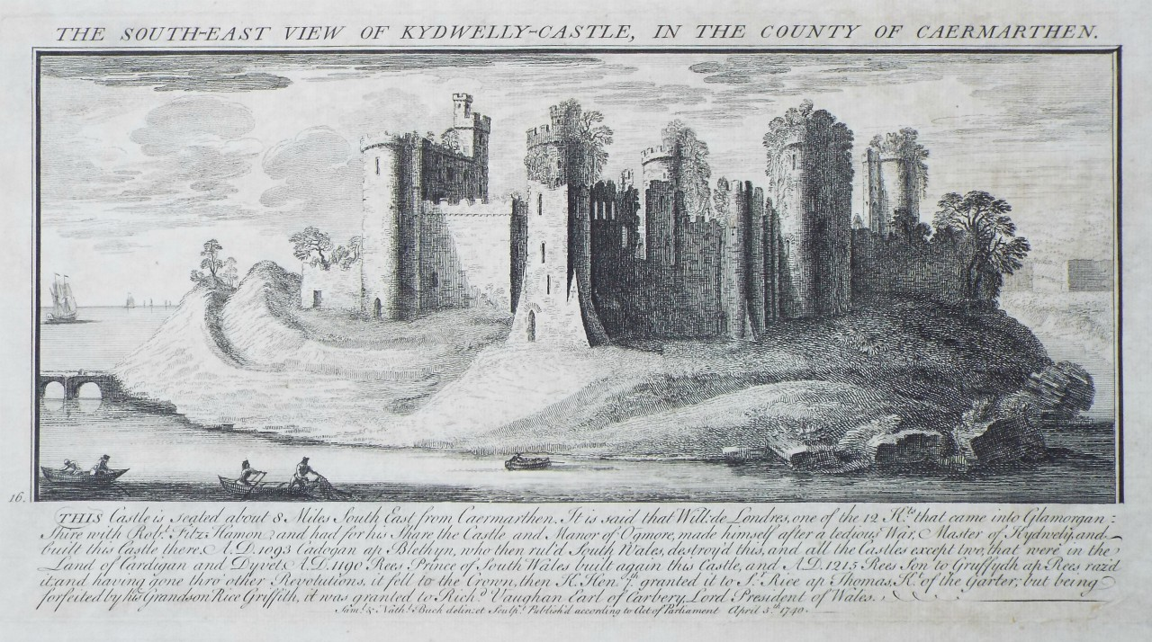 Print - The South-East View of Kydwelly-Castle, in the County of Caermarthen. - Buck