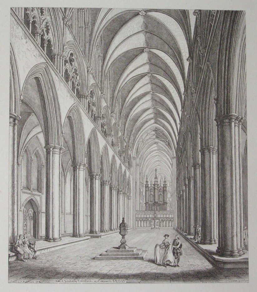 Etching - Nave of Salisbury Catherdral as it appeared A.D. 1754 - Fisher
