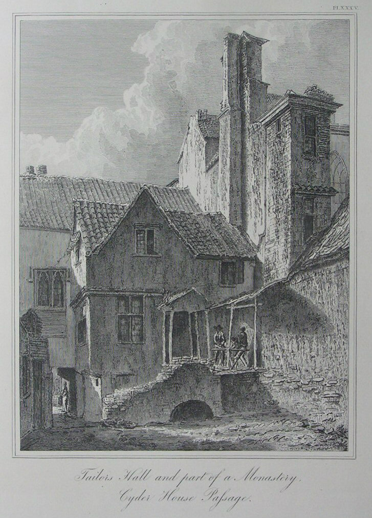 Etching - Tailors Hall and part of a Monastery, Cyder House Passage. - Skelton