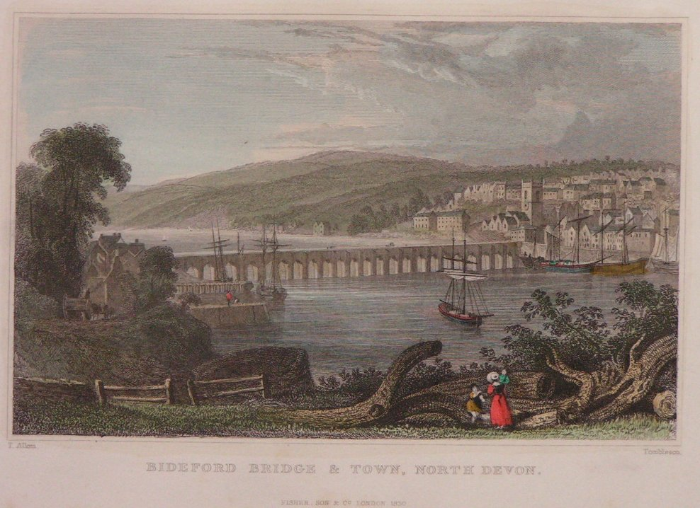 Print - Bideford Bridge & Town, North Devon -