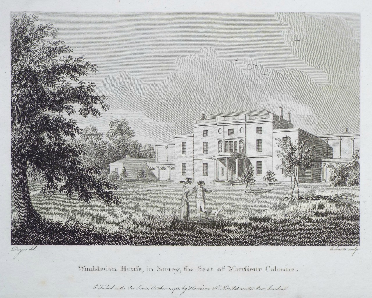 Print - Wimbledon House, in Surrey, the Seat of Monsieur Calonne. -