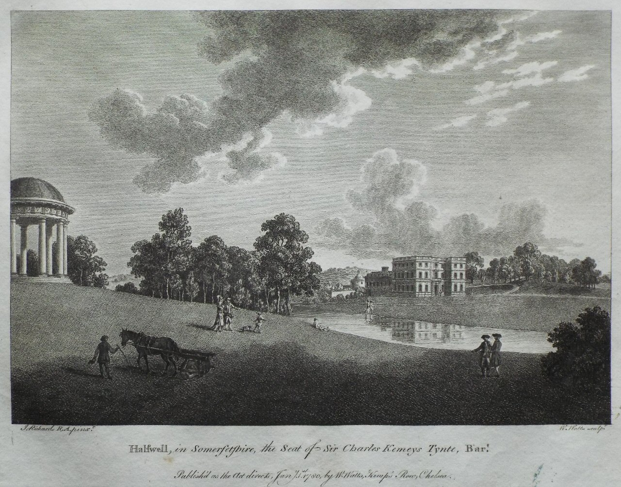 Print - Halswell, in Somersetshire, the Seat of ir Charles Kemeys Tynte, Bart. - Watts
