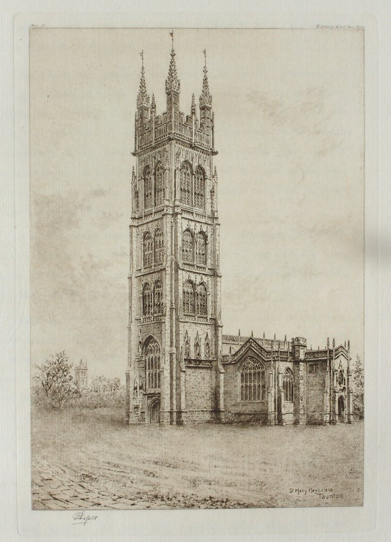 Etching - St. Mary Magdalene, Taunton - Piper