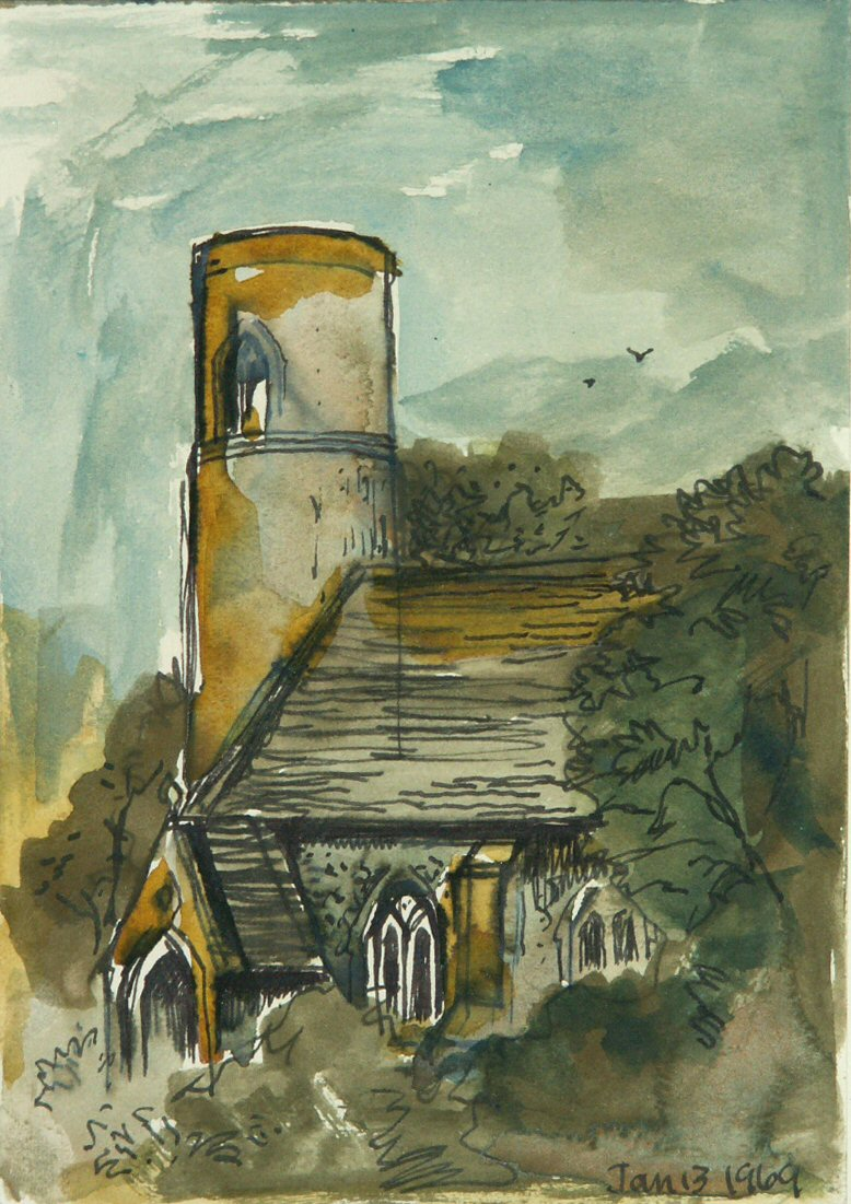 Watercolour - (Threxton Church) Jan 13 69
