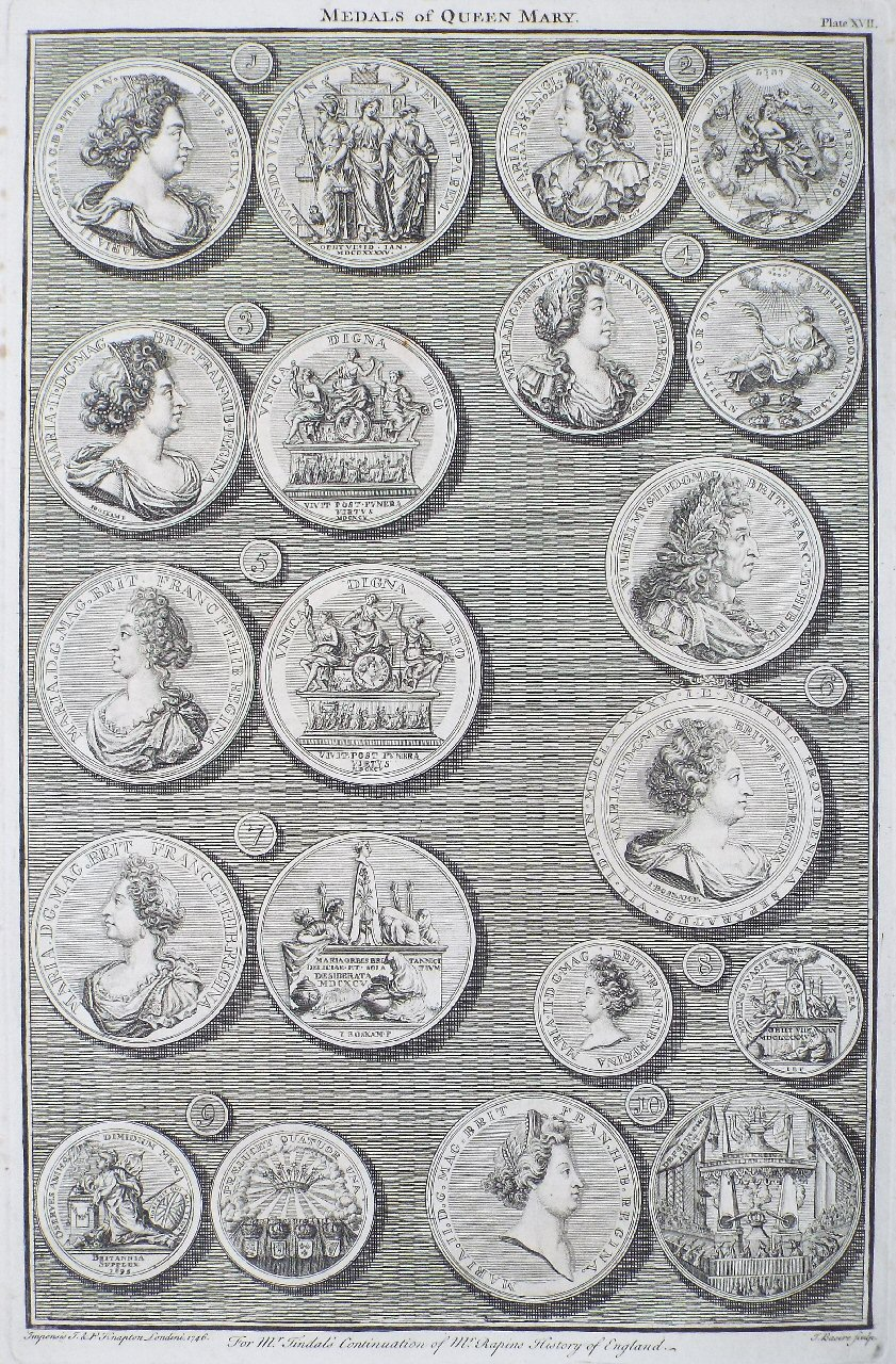 Print - Medals of Queen Mary. Plate XVII - Basire