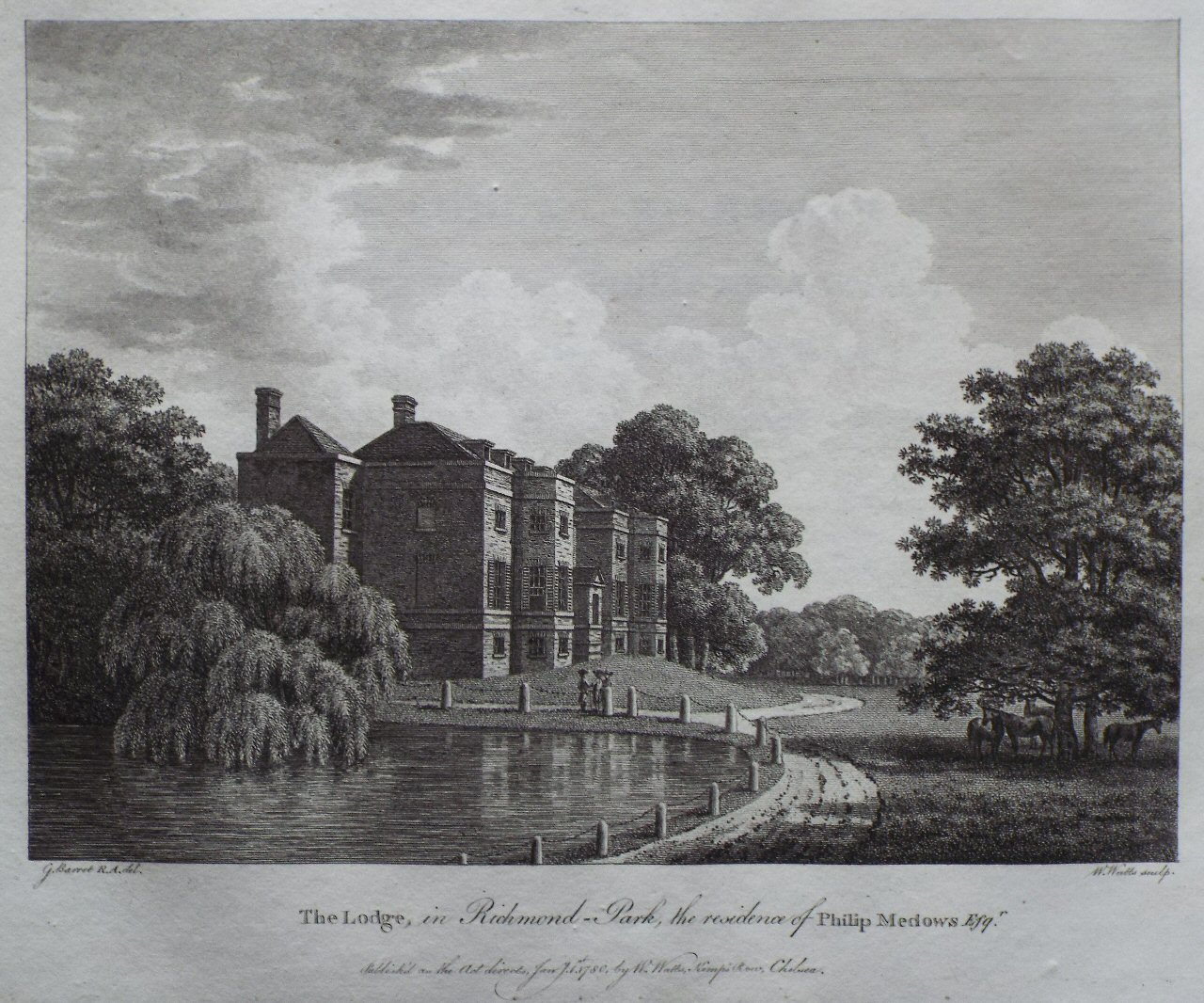 Print - The Lodge, in Richmond-Park, the Residence of Philip Medows Esqr. - Watts