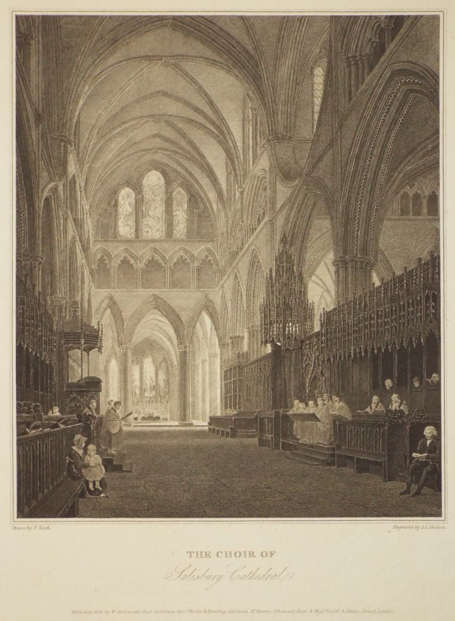 Print - The Choir of Salisbury Cathedral. - Skelton