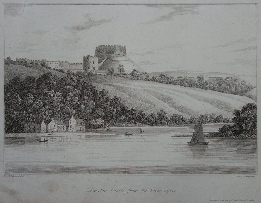 Print - Trematon Castle from the River Lyner. - Byrne