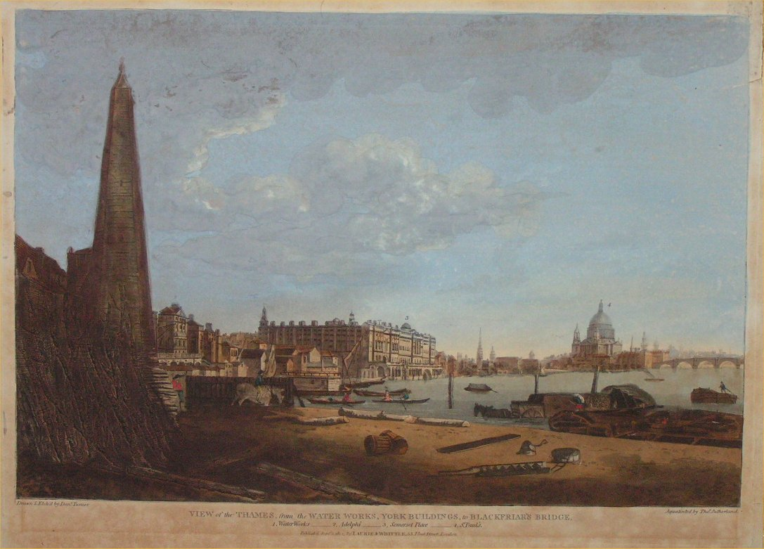 Aquatint - View of the thames from the waterworks to Blackfriars bridge. - Sutherland