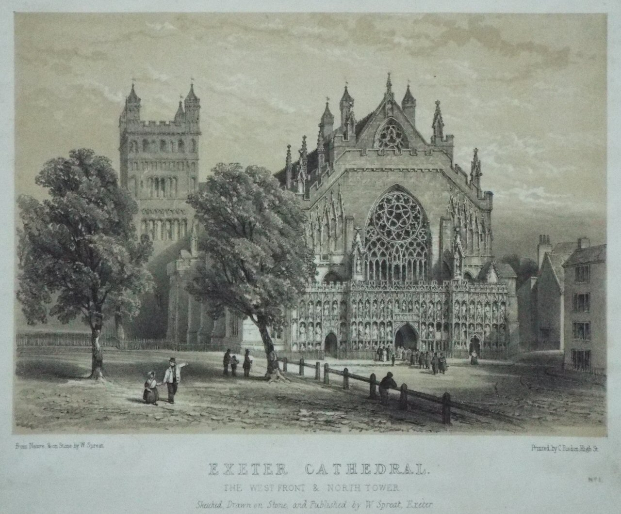 Lithograph - Exeter Cathedral. The West Front & North Tower. - Spreat