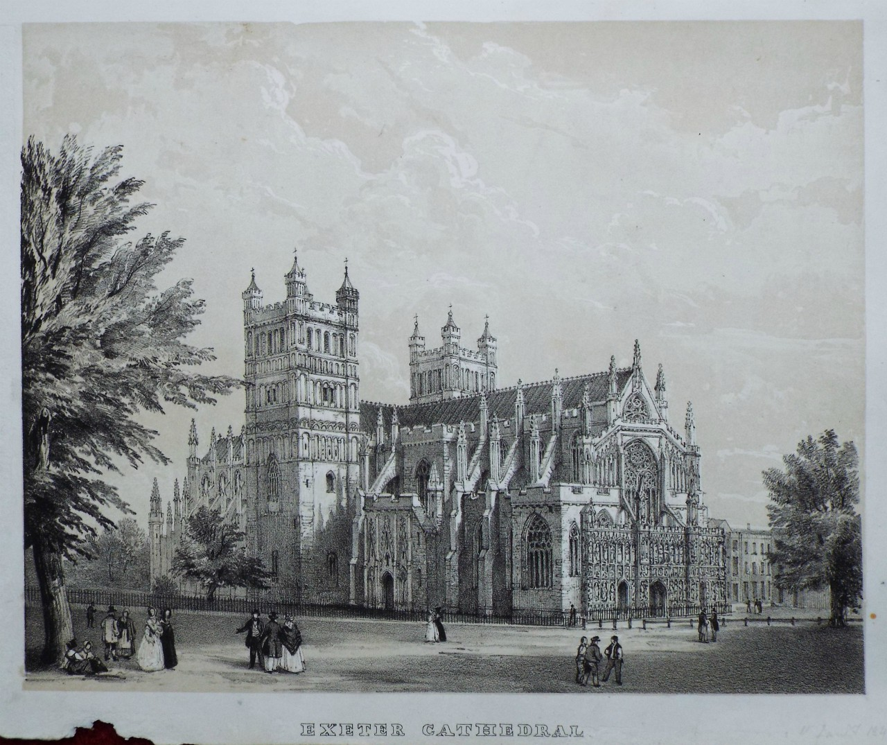 Lithograph - Exeter Cathedral.
