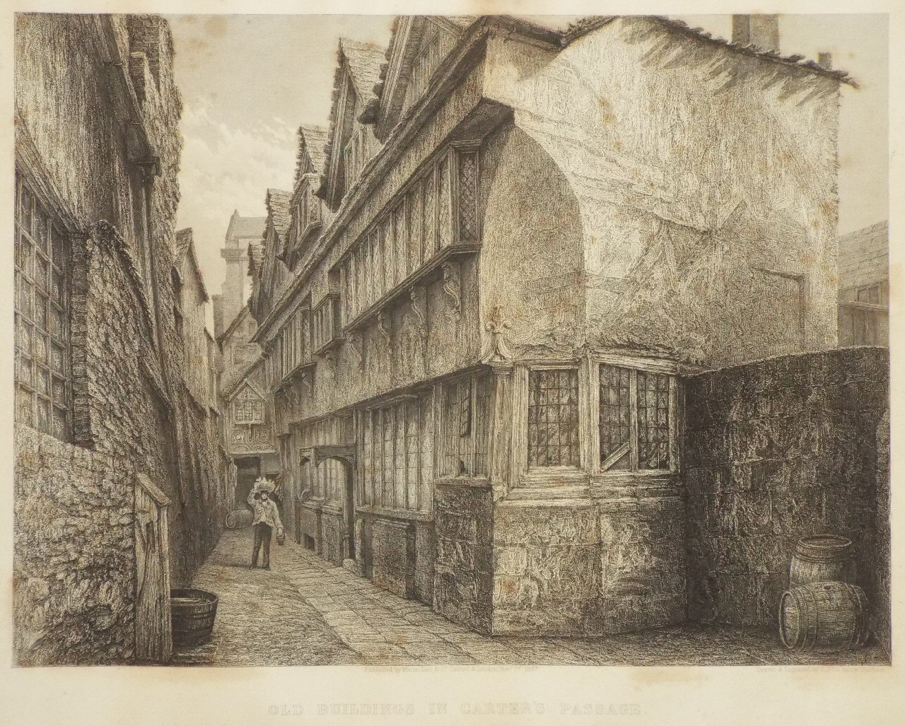 Print - Old Buildings in Carter's Passage. - Le