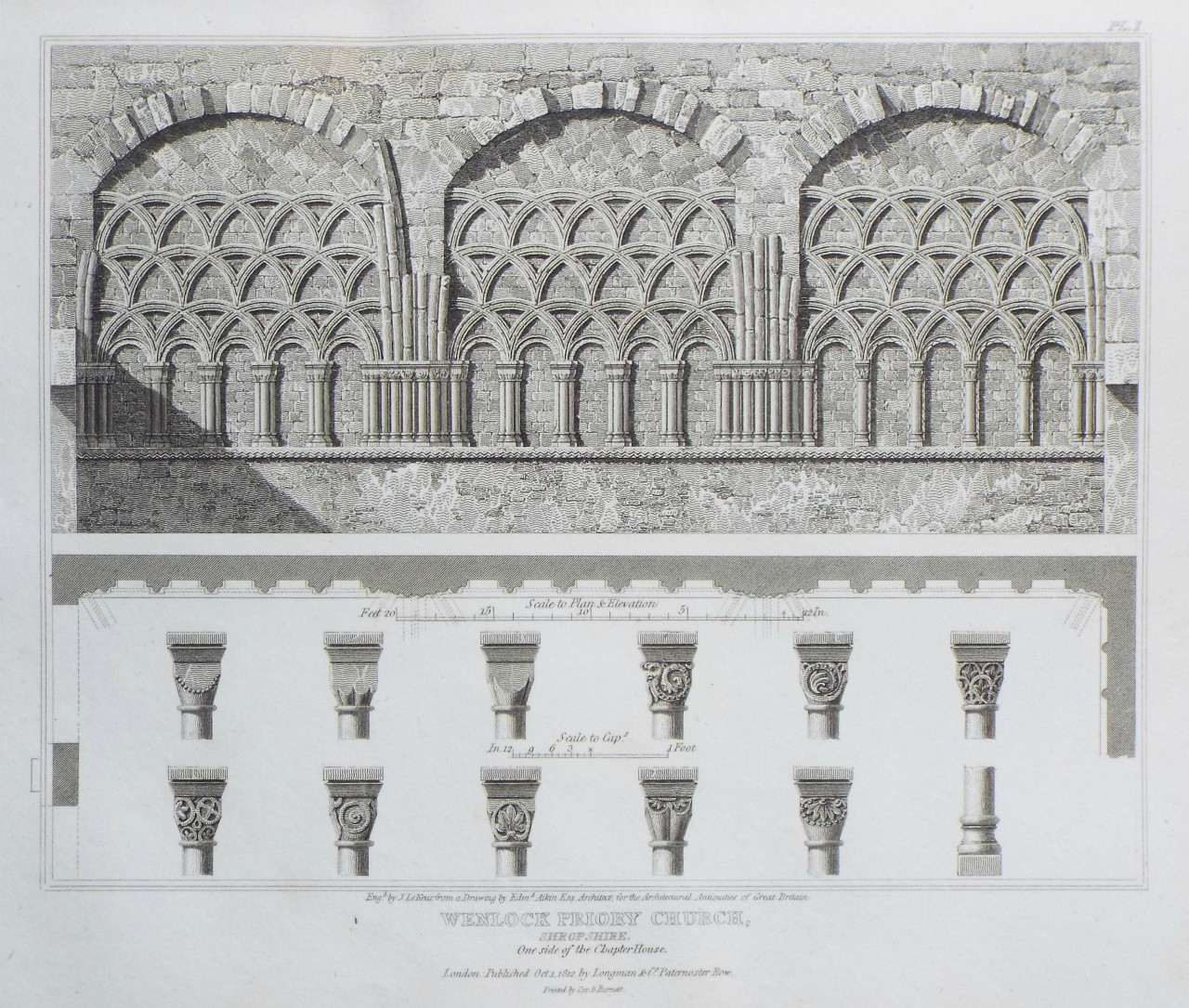 Print - Wenlock Priory Church, Shropshire. One side of the Chapter House. - Le