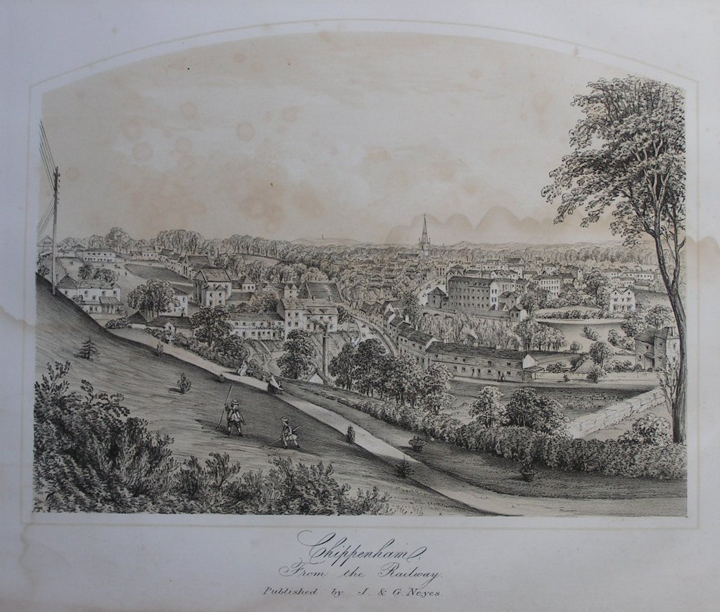 Lithograph - Chippenham from the Railway