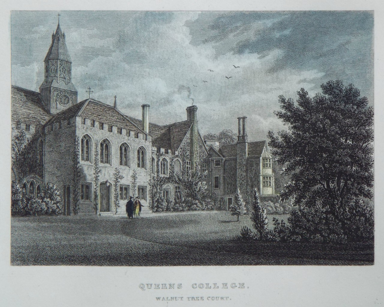 Print - Queens College. Walnut Tree Court.