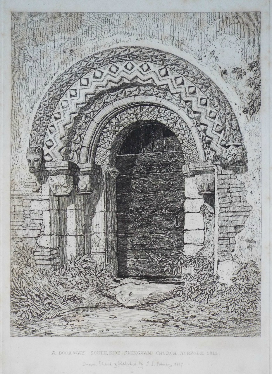Etching - A Doorway South Side Shingham Church Norfolk 1811 - Cotman