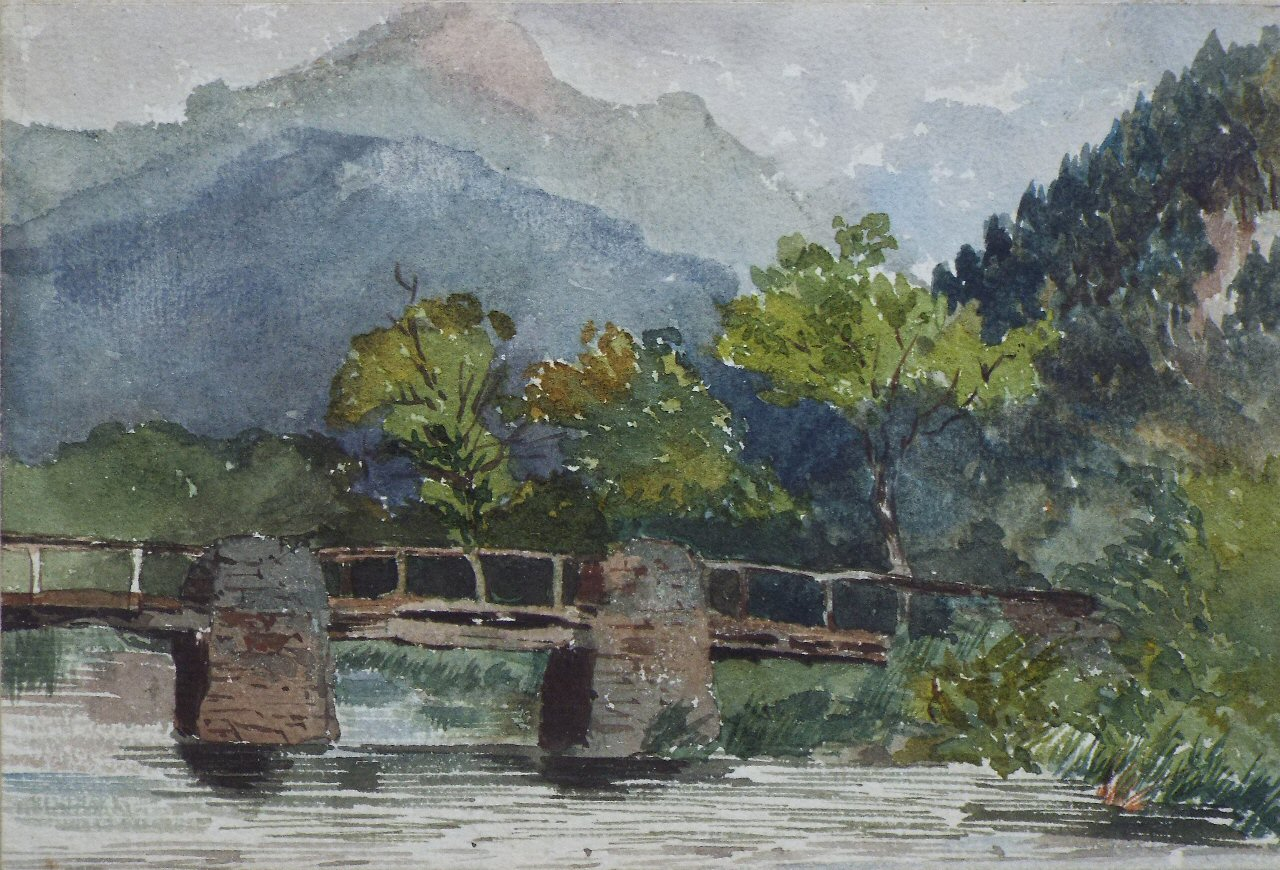 Watercolour - (Wooden bridge over river)