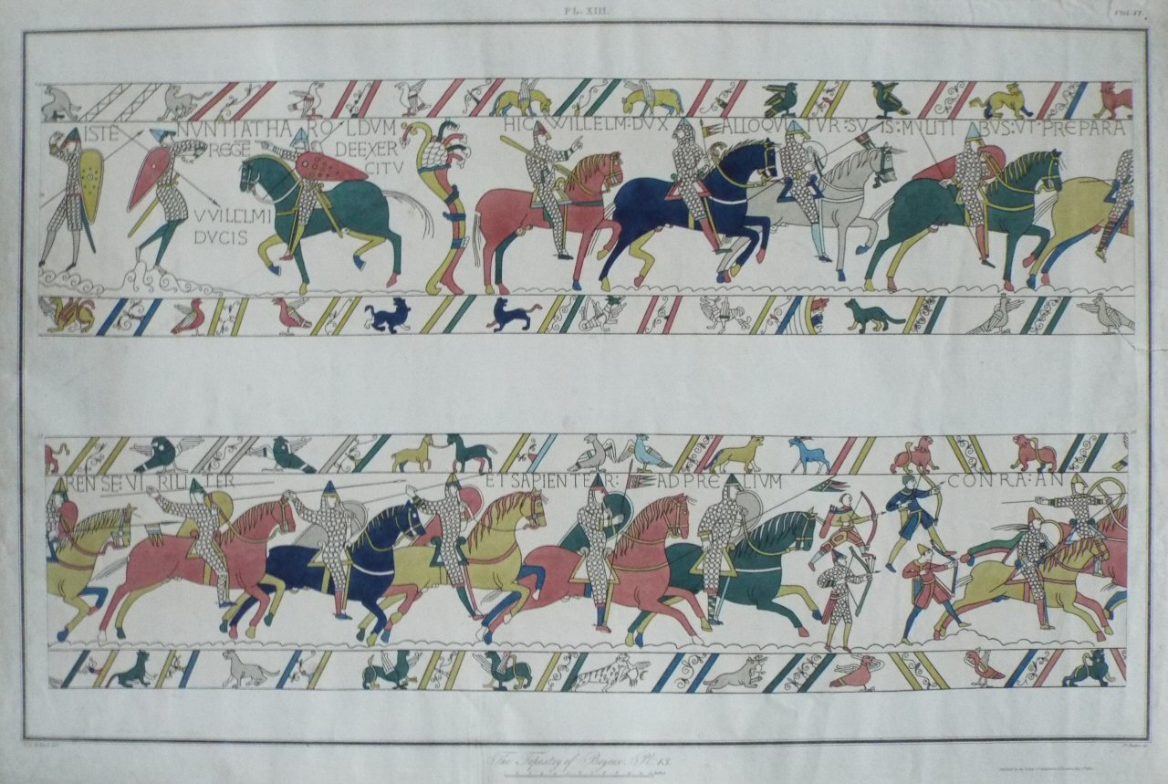 Aquatint - The Tapestry of Bayeux. Pl.XIII - Basire
