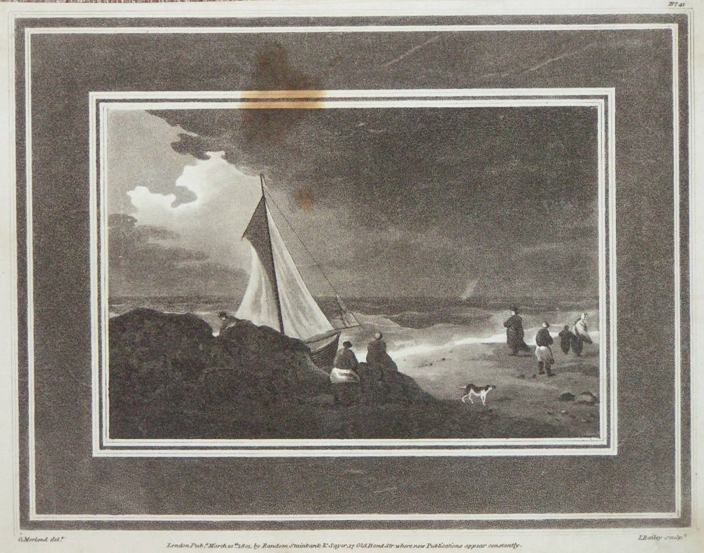 Aquatint - (Beach with boats and smugglers) - Bailey