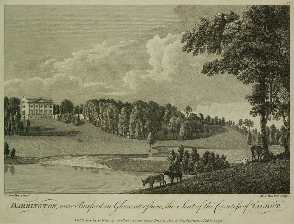 Print - Barrington, near Burford in Gloucestershire, the Seat of the Countess of Talbot. - Rooker