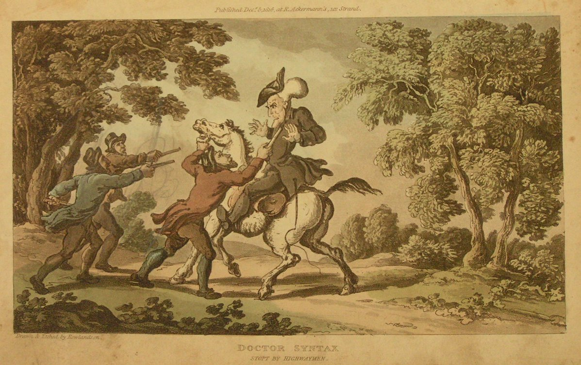 Aquatint - Doctor Syntax Stopt by Highwaymen  - Rowlandson