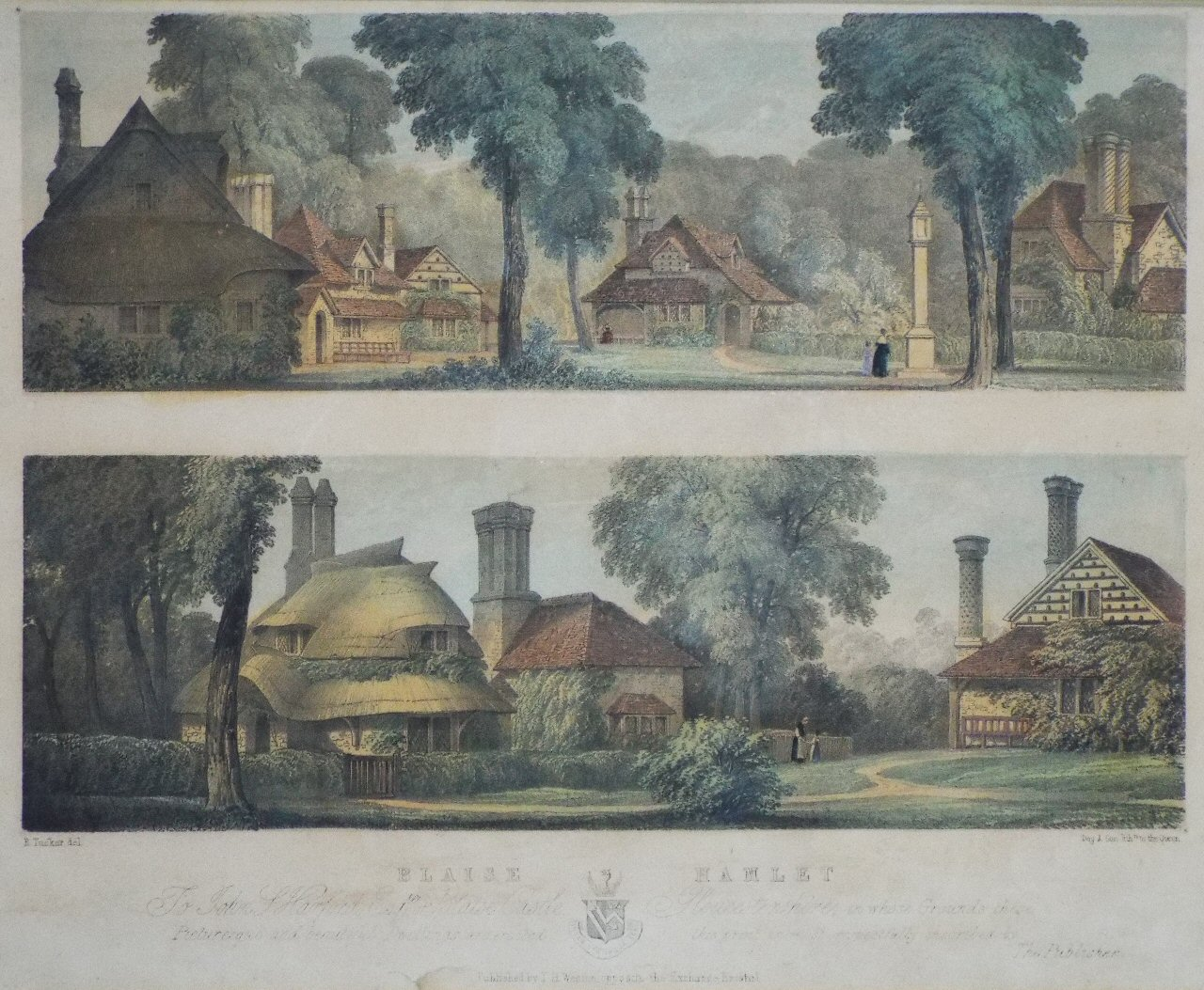 Lithograph - Blaise Hamlet, To John J, Harford Esqre of Blaise Castle, Gloucestershire...