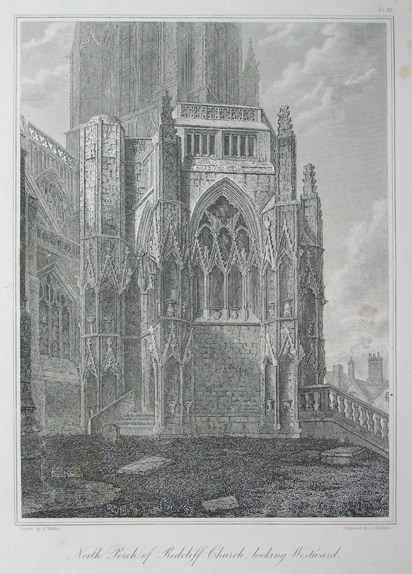 Etching - North Porch of Redcliff Church, looking Westward. - Skelton