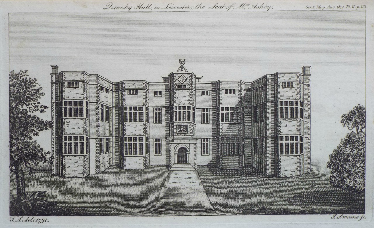 Print - Quenby Hall, co. Leicester, the Seat of Mrs. Ashby. - Swaine