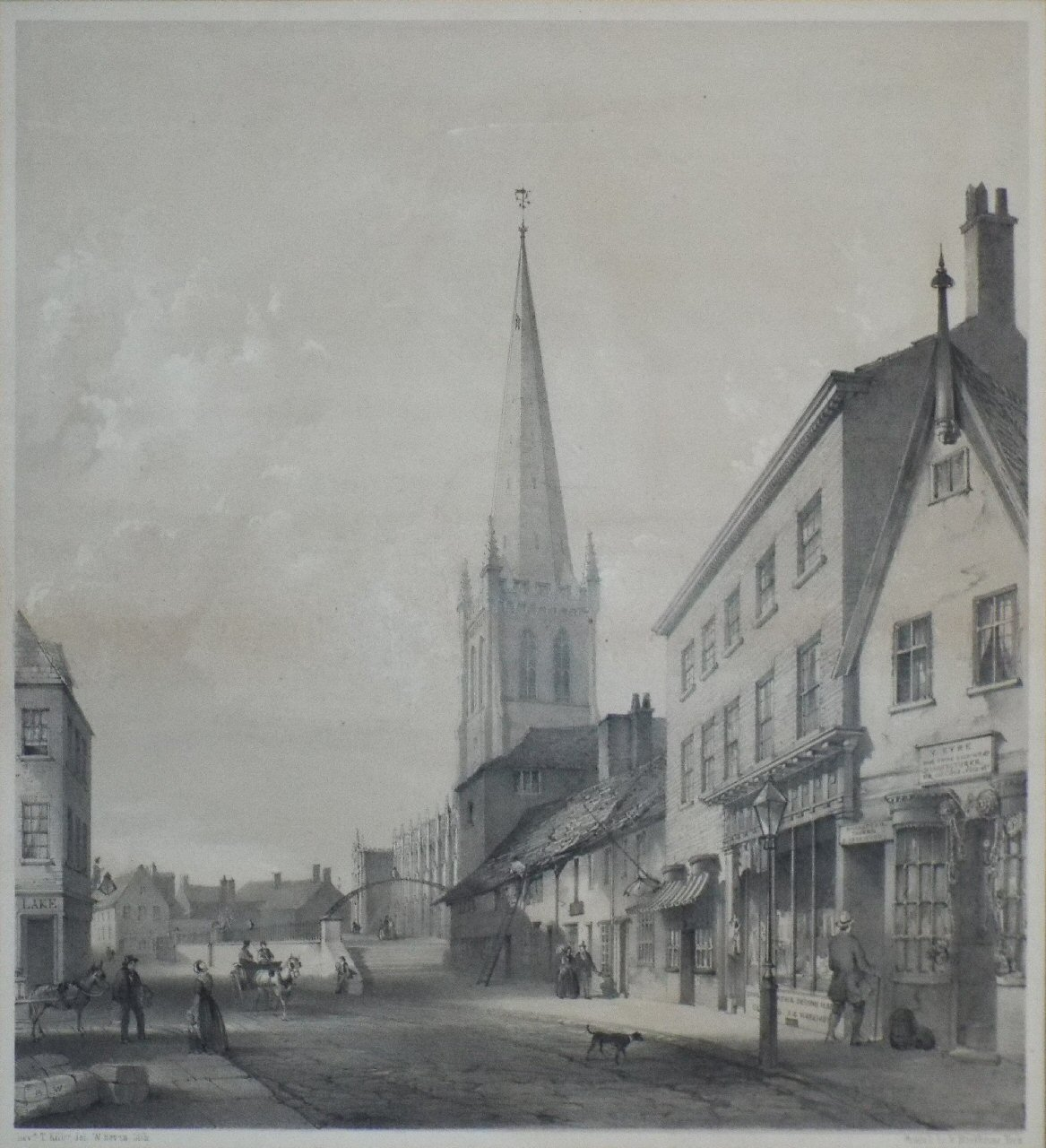 Lithograph - (Wakefield - Kirkgate below the Church Steps) - Bevan