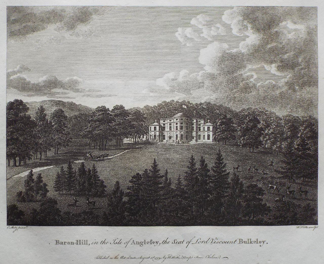 Print - Baron Hill, in the Isle of Anglesey, the Seat of Lord Viscount Bulkeley - Watts