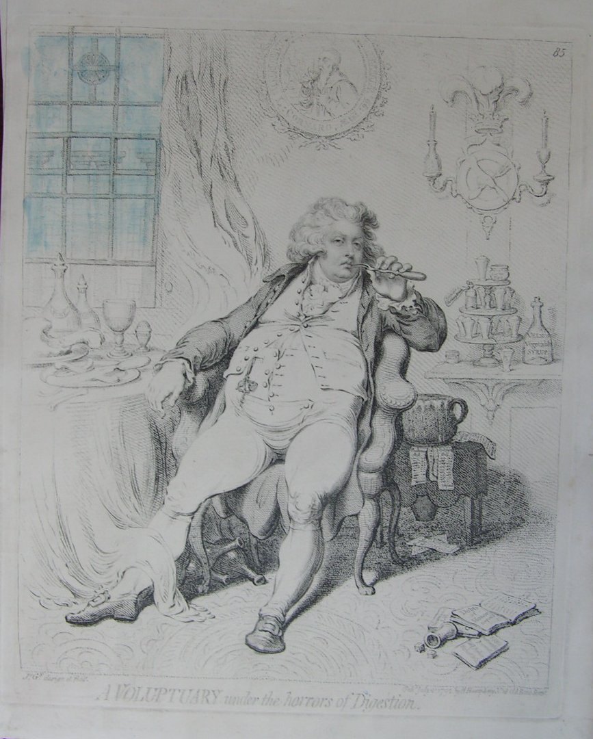 Etching & Stipple - A Voluptuary under the horrors of Digestion - Gillray