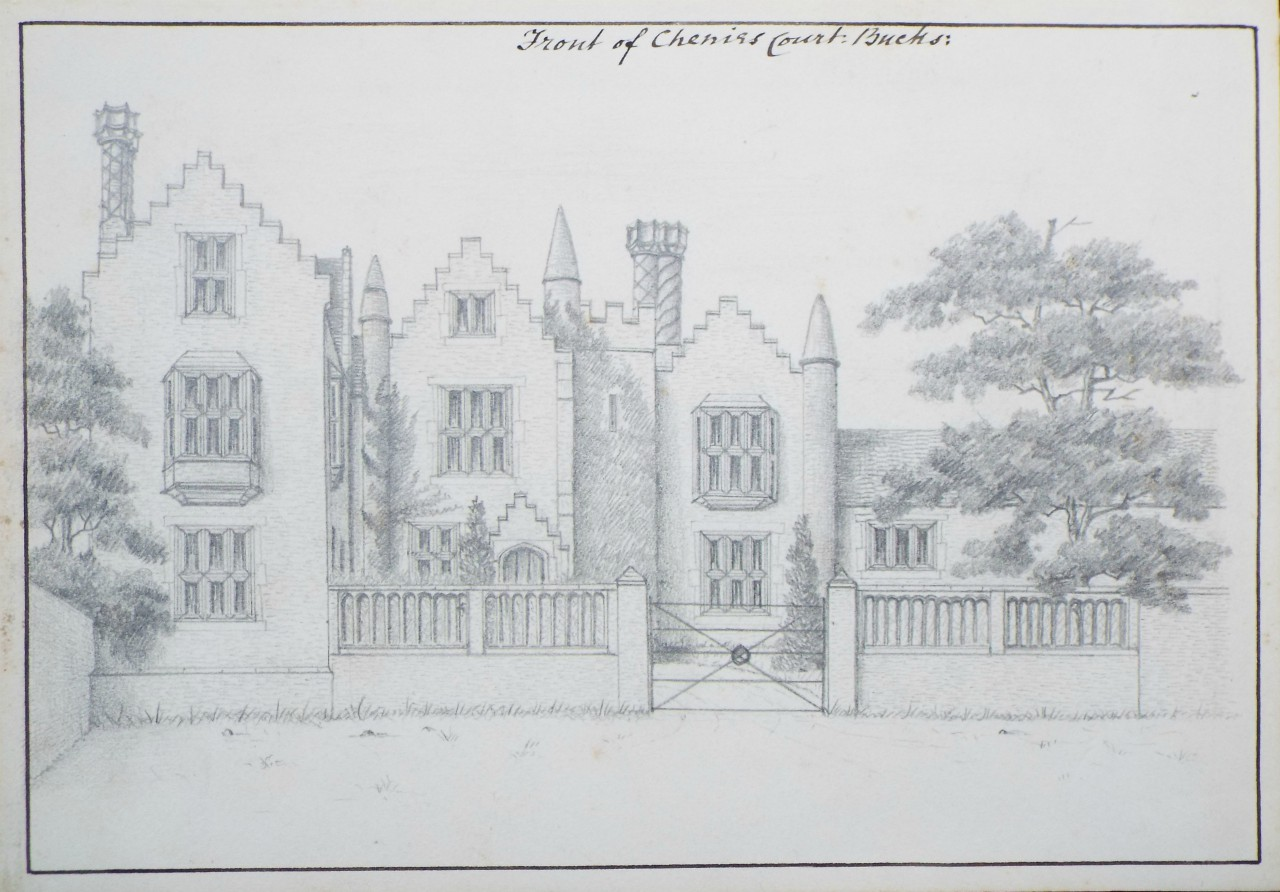 Pencil drawing - Front of Chenies Court,Bucks.