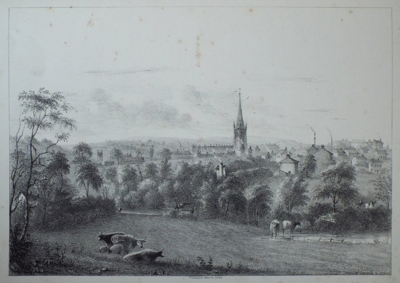 Lithograph - Parish church & town - Kilby