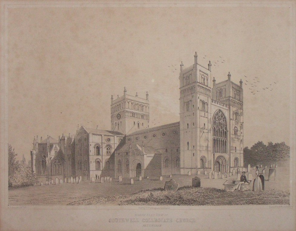 Lithograph - North East View Southwell Collegiate Church Nottingham - Moody