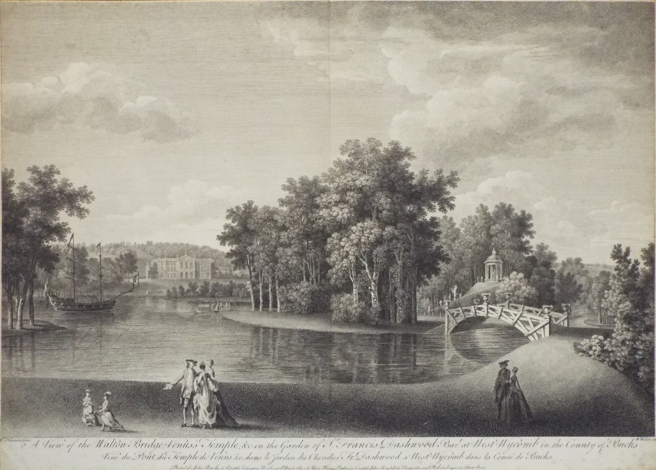 Print - A View of the Walton Bridge, Venus's Temple &c  in the Garden of Sir Francis Dashwood Bart., at West Wycomb in the County of Bucks - Woollett