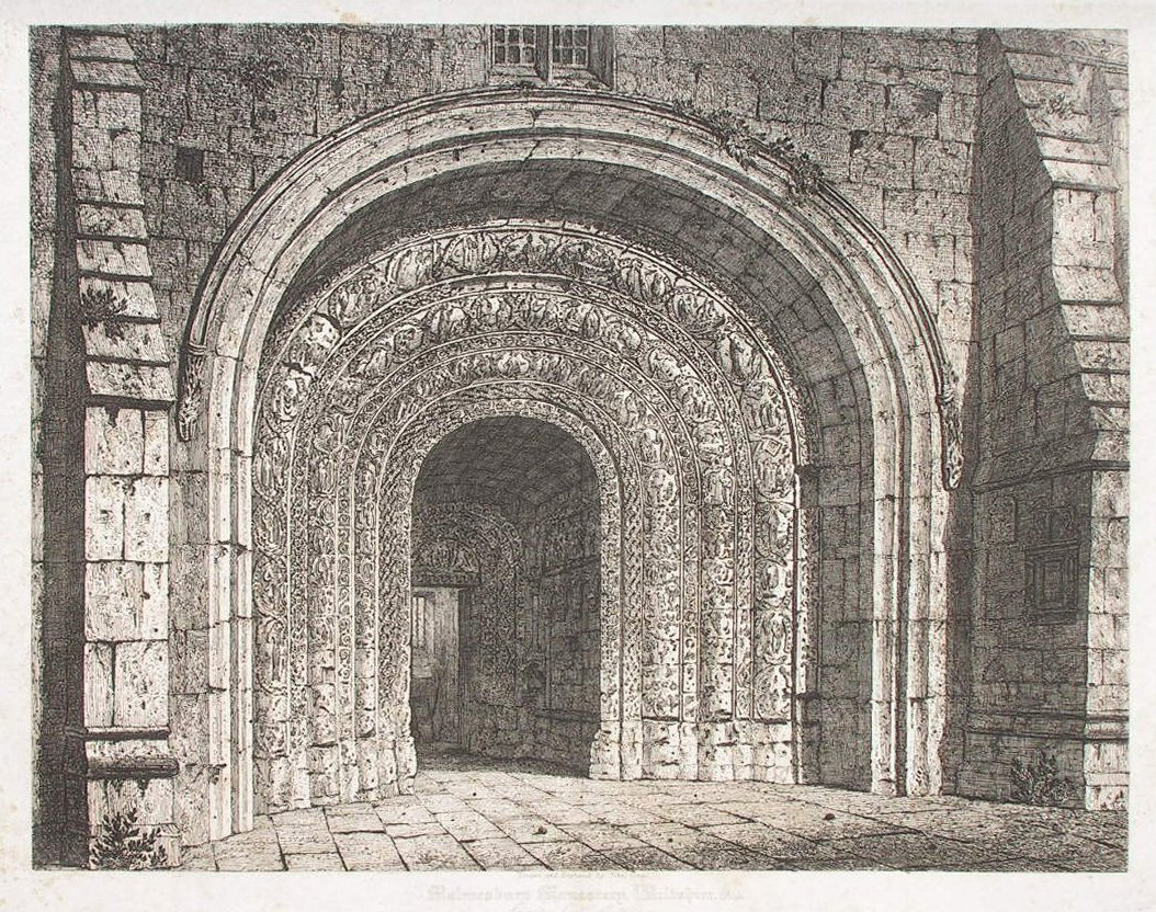 Print - Malmesbury Monastery, Wiltshire 1815 Great South Entrance - Coney