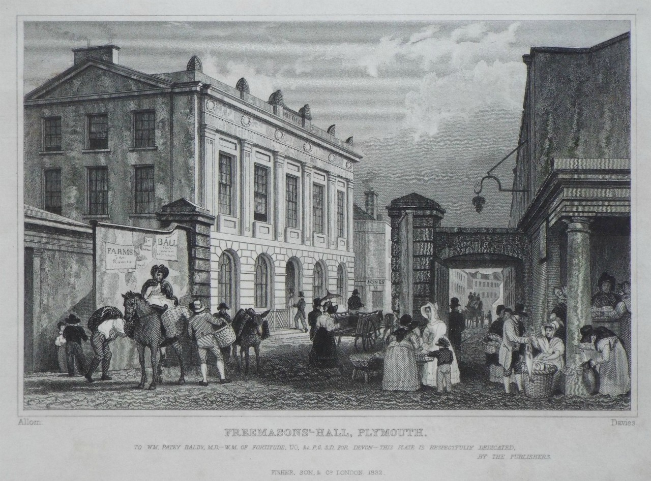 Print - Freemason's-Hall, Plymouth. -