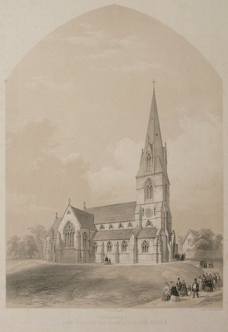 Lithograph - Proposed New Parish Church, Swindon Wilts. - Day