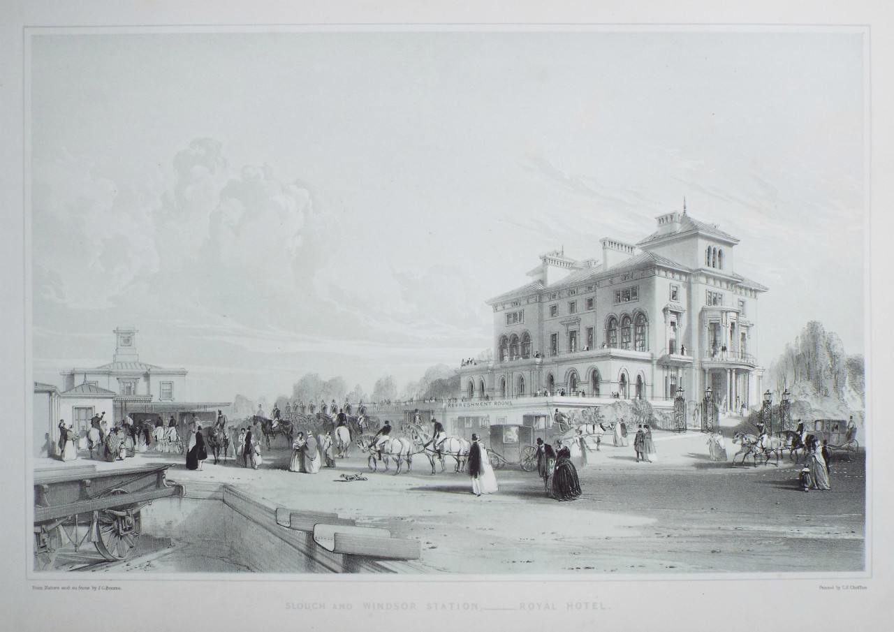 Lithograph - Slough and Windsor Station - Royal Hotel. - Bourne