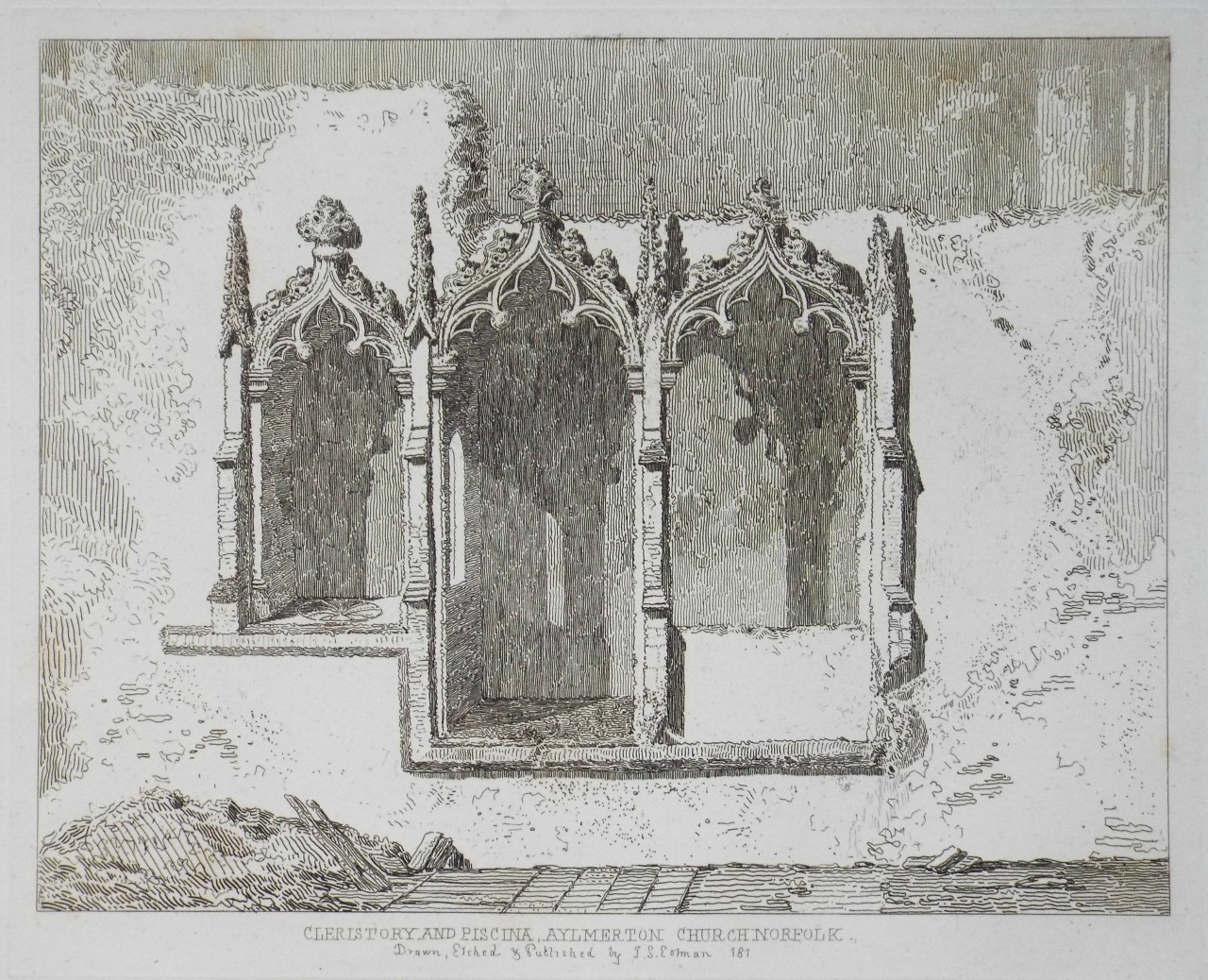 Etching - Cleristory and Piscina, Aylmerton Church Norfolk - Cotman