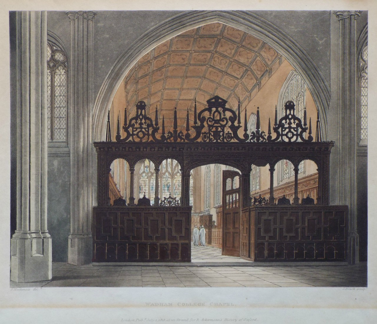 Aquatint - Wadham College Chapel. - Bluck