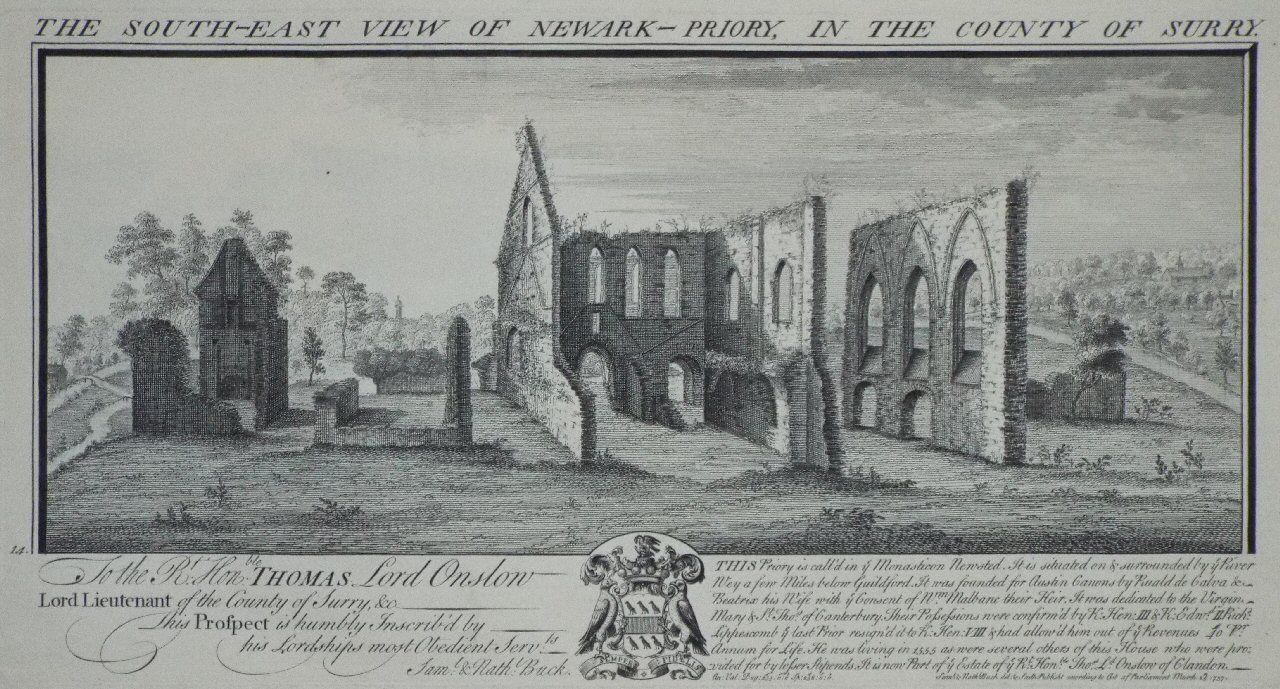 Print - The South-East View of Newark-Priory, in the County of Surry. - Buck