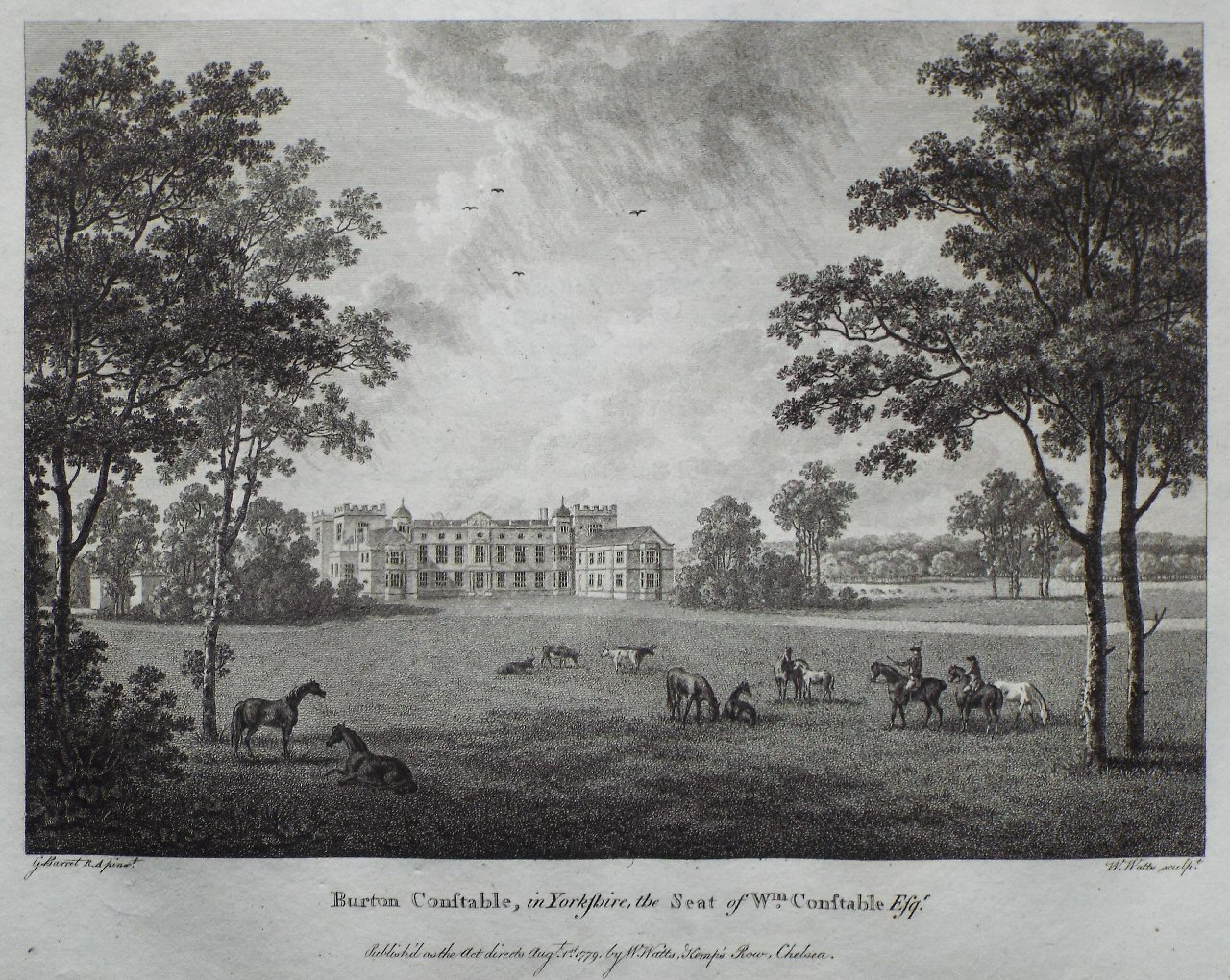 Print - Burton Constable, in Yorkshire, the Seat of Wm Constable Esqr - Watts